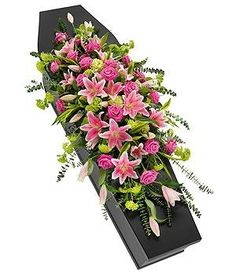Funeral Pink Rose and Lily Casket Spray - Passion For Flowers Liverpool Funeral Floral Arrangements, Large Flower Arrangements, Flower Centerpieces, Church Flowers, Funeral Flowers, Wedding Flowers, Funeral Caskets, Casket Flowers, Funeral Sprays