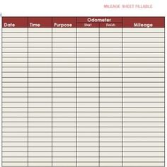 Mileage Log Template   Mileage Log    Logs Template