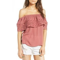 035f2c3695d61d Women s Socialite Crochet Off The Shoulder Top ( 42) via Polyvore featuring  tops