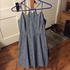 Dress Chambray sweet heart neckline race back dress w/ adjustable straps and a side zipper. Wore only once. Make an offer or let's trade! Banana Republic Dresses Asymmetrical