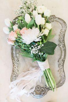 Dahlia, rose and tulip wedding bouquet: Photography: Ava Moore - http://www.avamoorephotography.com/