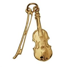 Violin with Bow 14k Gold Charm