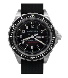 Marathon Watch JDD Swiss Made Military Issue Large Bilingual Diver's Automatic with Day & Date with Tritium Rubber Strap) Casual Watches, Cool Watches, Watches For Men, Wrist Watches, Black Stainless Steel, Stainless Steel Bracelet, Marathon Watch, G Shock Black, Search And Rescue