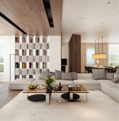 .Really like the bookcase and modern look to these rooms. Lots of light helps scheme too.