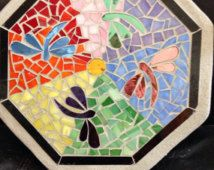 Dragonfly and rainbow stained glass mosaic stepping stone