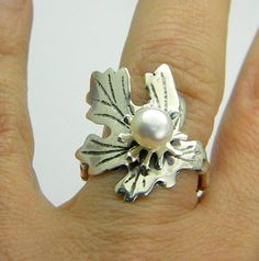 sterling silver leaf pearl ring with white pearl by nikiforosnelly $48