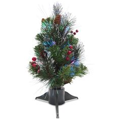 18-inch Artificial Crestwood Tree with Fiber-optic Lights