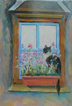 Original Oil Painting Cat in flowers on the window by FrozenLife