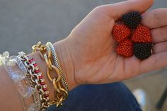 Tartan & Sequins: How We Style It: Mixing Gold, Silver, and Bronze Jewelry!  I love the candy, so good!