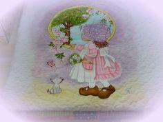 Meus Trabalhos. Ateliê Rosi Pinheiro. Pintura em tecido para manta de bebê.