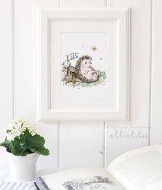 Hedgehog Nursery Art - Woodland Animal Print - Woodland Nursery - Hedgehog illustration - Giclee - Forest Animal -  Picture for Baby