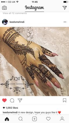 @leedsmehndi ⭐️ Wedding Henna Designs, Mehndi Designs 2018, Unique Mehndi Designs, Henna Designs Easy, Beautiful Henna Designs, Henna Tattoo Designs, Mehndi Designs For Hands, Henna Tattoo Hand, Henna Body Art