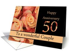50th Anniversary to couple - multicolored pink roses card