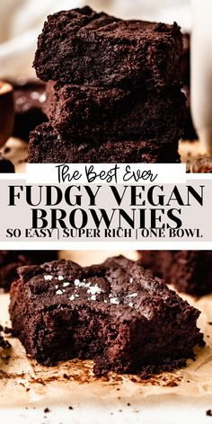 The BEST fudgy and rich vegan brownies that are super easy and perfect for chocolate lovers!! Undetectably dairy free, eggless, refined sugar free, and easily gluten free! This will be your favorite brownie recipe, vegan or not! Healthy Chocolate Desserts, Vegan Dessert Recipes, Brownie Recipes, Vegan Chocolate, Vegetarian Recipes, Fudgy Vegan Brownies, Dairy Free, Gluten Free, Food Charts