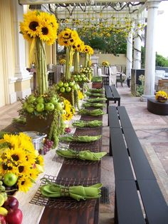 Stunning sunflower and green apple centerpieces. Table Centerpieces, Wedding Centerpieces, Wedding Table, Wedding Decorations, Table Decorations, Wedding Ideas, Wedding Reception, Rustic Wedding, Beautiful Table Settings
