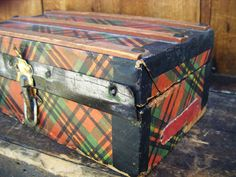 Antique 1800's Victorian Doll Trunk, Tartan Plaid Paper over Wood. $35.00, via Etsy.