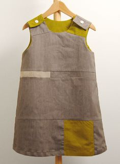 Little girl dress made from fabric scraps. Beautiful!