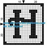 Alphabet letter H filet crochet pattern