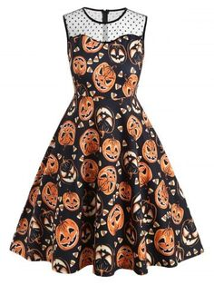 Rosegal / Plus Size Lace Insert Pumpkin Print Halloween Vintage Party Dress Plus Size Halloween, Retro Halloween, Halloween Prints, Halloween Dress, Baby Halloween, Anime Halloween, Halloween 2019, Plus Size Vintage, Vintage Lace