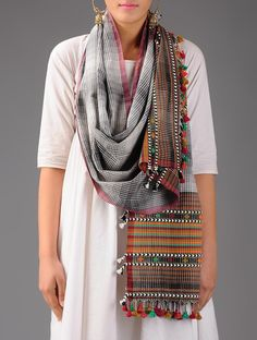 Buy Black White Multicolor Cotton Stole Accessories Scarves & Stoles Bhujodi Roots Handwoven Embroidered Woolen Shawls from Kutch Online at Jaypore.com