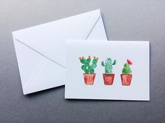 Three Cacti In A Row Cards - A6 Charity Greetings Card