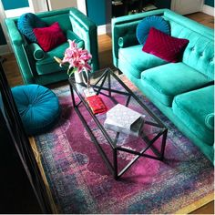 Teal Living Rooms, Colourful Living Room, My Living Room, Living Room Decor, Bedroom Decor, Jewel Tone Bedroom, Jewel Tone Decor, Home Furniture, Bohemian Furniture