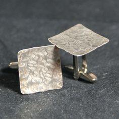 Hand Hammered Nickel Cufflinks Free Gift Bag 21st by Cufflinked