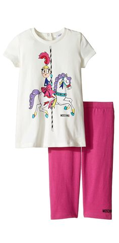 No ticket needed!  She'll always enjoy a wonderful time playing in the #Moschino #Kids #Carousel #Graphic #T-Shirt and #Leggings #Set. #girls #child #children #childrenswear #2-piece #two-piece #apparel #clothing