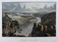 Bastei Elbe Sächsische Schweiz ORIGINAL Stahlstich 1827, koloriert, BATTY Wallis