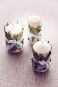 Candle idea for wedding table centre made with fresh natural eucalyptus (BridesMagazine.co.uk)