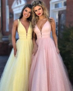 2018 Long Prom Dress, Princess Yellow Long Prom