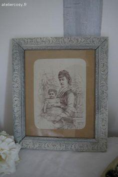Gravure ancienne , cadre blanchi Brocante de charme atelier cosy.fr