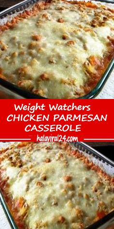 EASY CHICKEN PARMESAN CASSEROLE This Easy Chicken Parmesan Casserole is one of the easiest casserole recipes ever. Zero precooking because the chicken cooks in the casserole! A perfect dish to prep ahead of time and stick in calorie recipes Weight Watchers Casserole, Weight Watchers Meal Plans, Weight Watchers Diet, Weight Watcher Dinners, Weight Watchers Lasagna, Ww Recipes, Skinny Recipes, Italian Recipes, Cooking Recipes