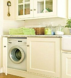 Ideas for Hidden Laundry Spaces.  Links to blog with several different ideas pictured featuring clever ideas to conceal a washer & dryer.  Disguise washer & dryer as furniture or hide behind cabinet doors.