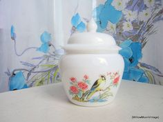 Milk Glass Ginger Jar by Avon. Willow Moon Vintage on Etsy.