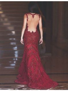 Luxurious Deep V-Neck Backless Burgundy Mermaid Prom Dress with Beading Appliques