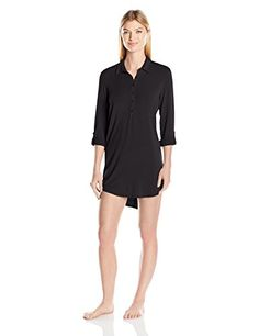 967ddcbbaa45 PJ Salvage Women s Modal Basics Nightshirt Classically styled night shirt  crafted with a point collar