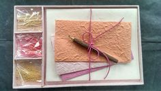 Gift Set - DIY Letter/Writing Stationery Set/Handmade Mulberry Paper/X mas/Pink1