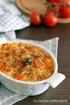 riso al forno alla pizzaiola Rice Recipes, Fall Recipes, Cooking Recipes, Rice Dishes, Pasta Dishes, Sicilian Recipes, Warm Food, I Love Food, My Favorite Food