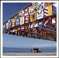 Pyramide de drapeaux © Musée historique de Lausanne, Phot. M. & E. Fontannaz Lausanne, Flags, Times Square, Photo Wall, Instagram, Travel, Fiftieth Birthday, History, Radiation Exposure