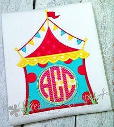 Circus Tent Monogram Applique - 4 Sizes! | What's New | Machine Embroidery Designs | SWAKembroidery.com Creative Appliques