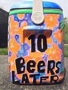 sponge bob 10 beers later fraternity cooler Sorority Canvas, Sorority Paddles, Sorority Crafts, Sorority Recruitment, Fraternity Coolers, Frat Coolers, Formal Cooler Ideas, Coolest Cooler, Noah