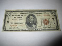 $5 1929 BELLEVILLE NEW JERSEY NJ NATIONAL CURRENCY BANK NOTE BILL! #12019 FINE!