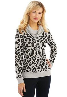 Cato Fashions Cowl Neck Leopard Print Sweatshirt-Plus  #CatoFashions