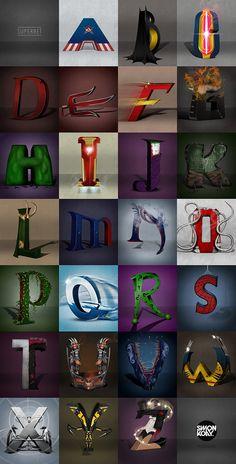 Designer Simon Koay imagines a superhero and villain alphabet, from Captain America to Zatanna. Superhero Alphabet, Superhero Poster, Alphabet Book, Roman Alphabet, Superhero Classroom, Superhero Room, Typography Alphabet, Alphabet Design, Marvel Memes