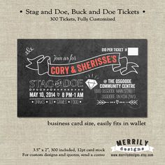 300 Tickets  Stag and Doe  Buck and Doe Tickets  by MERRILYdesigns, $60.00