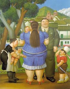 Fernando Botero, (1932-), Columbian, A Family, 1996 Oil on canvas, 195 x 155 cm    Sometimes an artist deliberately changes the Proportion for unique reasons. Look at this family portrait painted by Columbian artist Fernando Botero. Why do you think the family members are painted with such large volume and size?