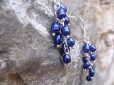 Sapphire Blue Pearl Dangle Earrings