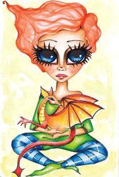 My Baby Dragon  4x6 Dragon Girl, Baby Dragon, Pet Monsters, Sisters Art, Baby Fairy, Faeries, Fashion Art, Dragons, Art Drawings