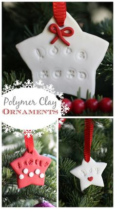 Polymer clay Christmas ornament craft, so easy to do! See more party ideas at CatchMyParty.com. #christmas #ornaments #crafts